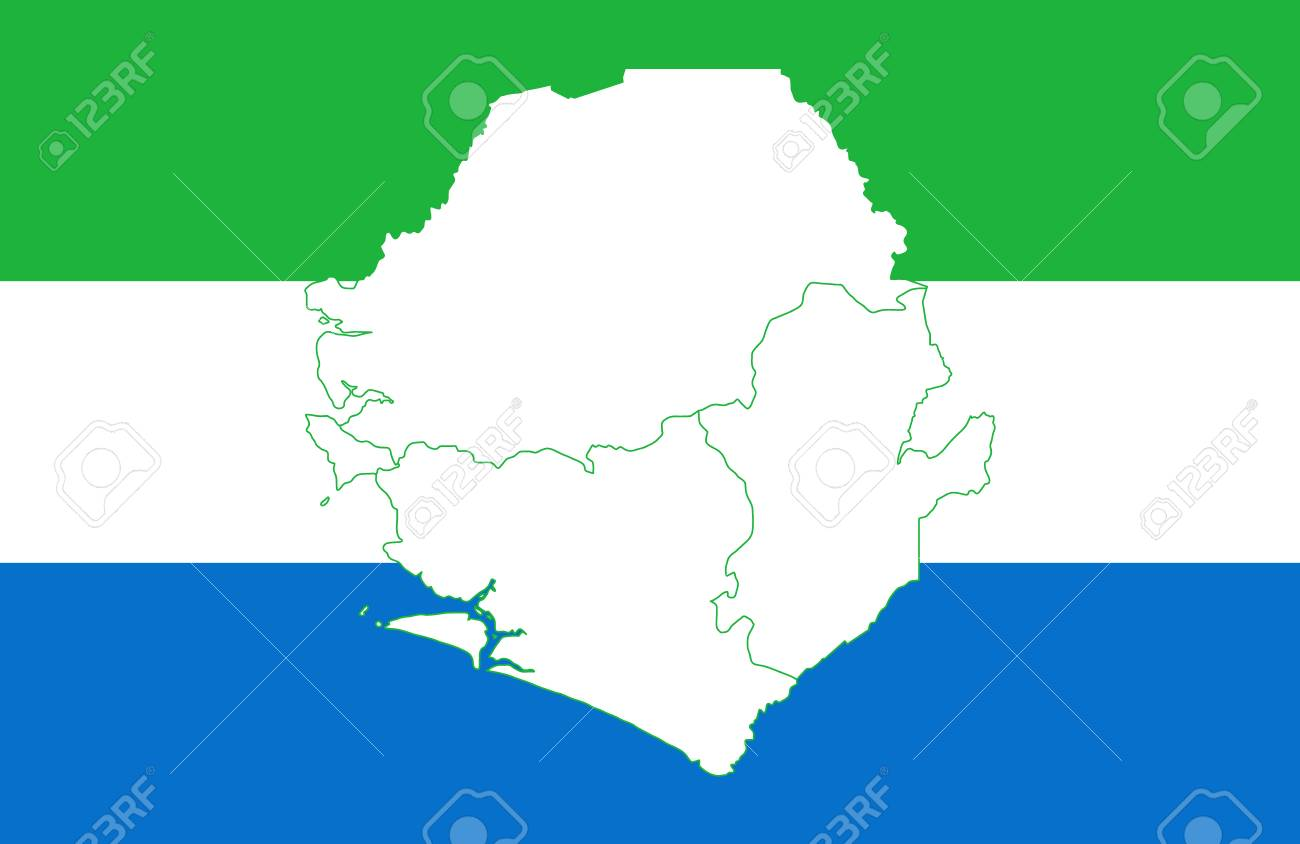Map And Flag Of Sierra Leone Vector Illustration World Map Royalty