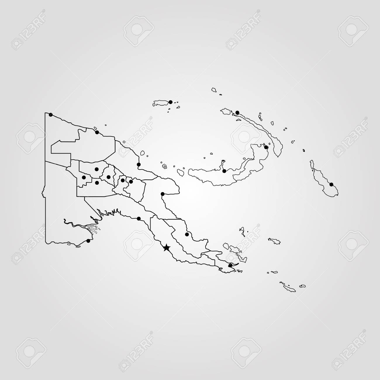 Map Of Papua New Guinea. Vector Illustration. World Map Royalty Free ...