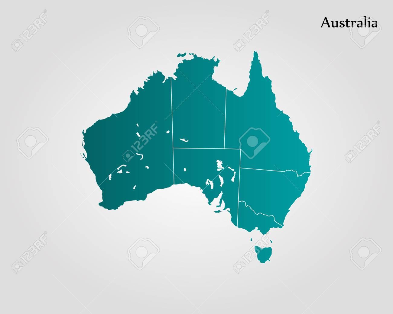 Australia Map Of The World.Map Of Australia Vector Illustration World Map