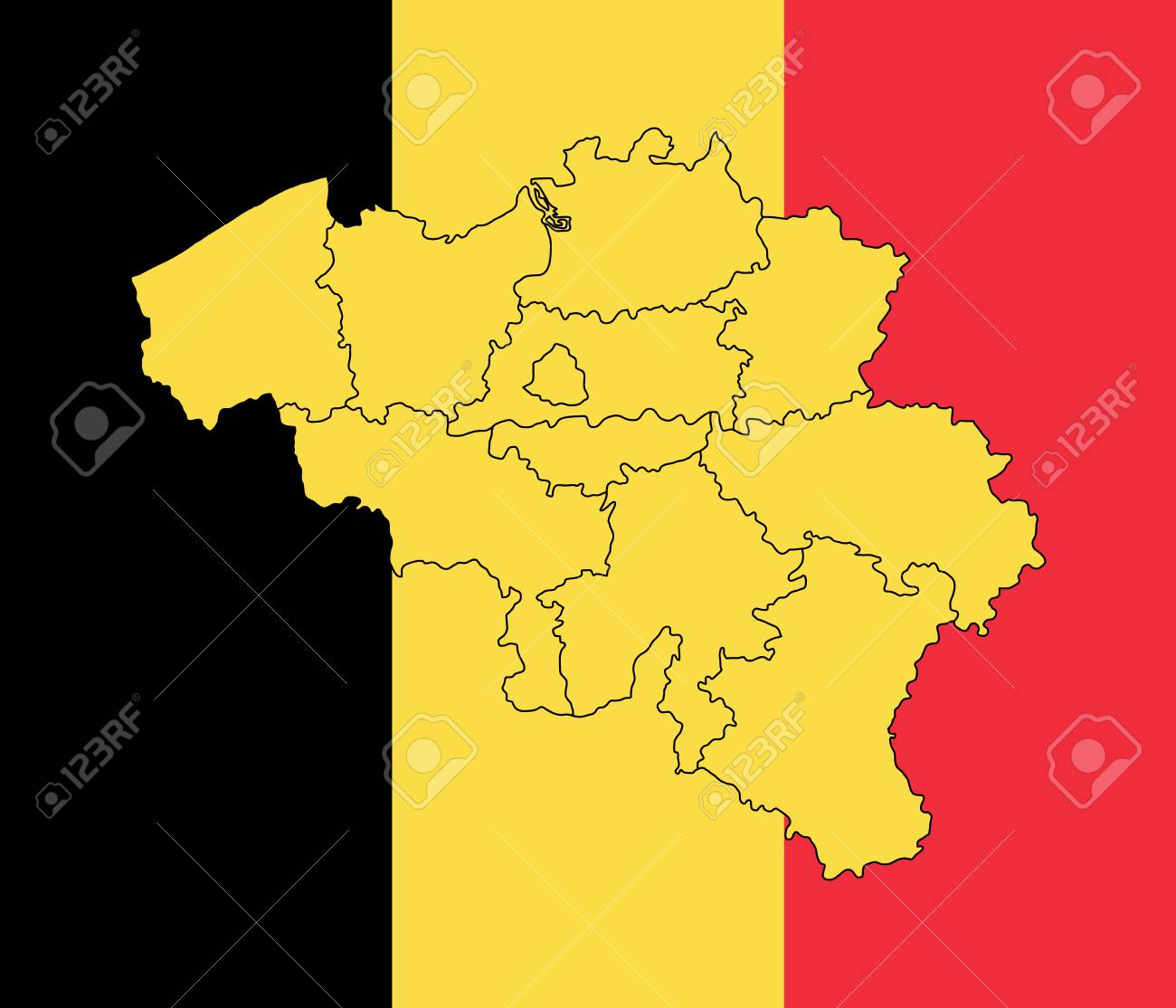 Map And Flag Of Belgium. Vector Illustration. World Map Royalty Free ...