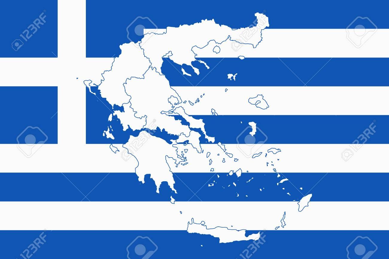Map And Flag Of Greece. Vector Illustration. World Map Lizenzfrei ...
