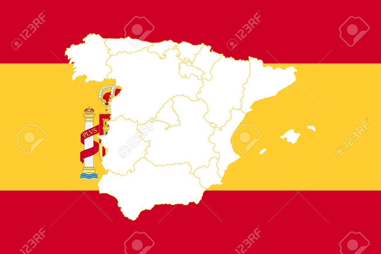 Map and flag of Spain. Vector illustration. World map