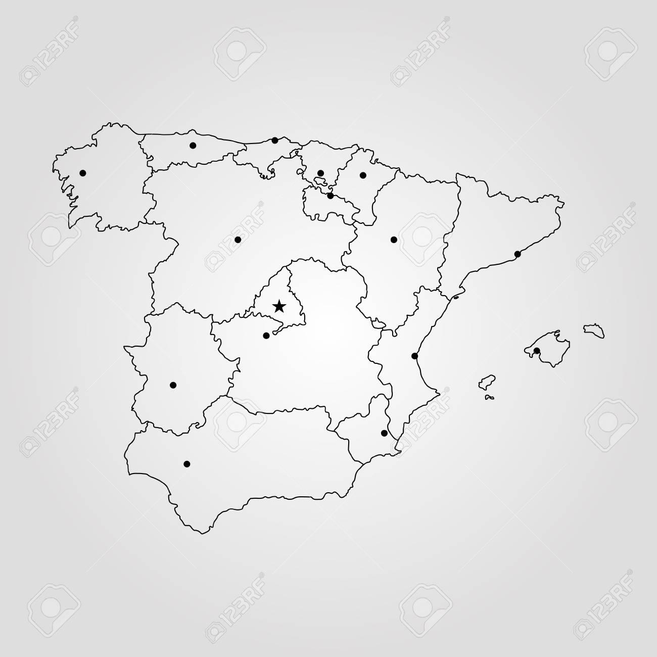 Map Of Spain. Vector Illustration. World Map Lizenzfrei Nutzbare ...