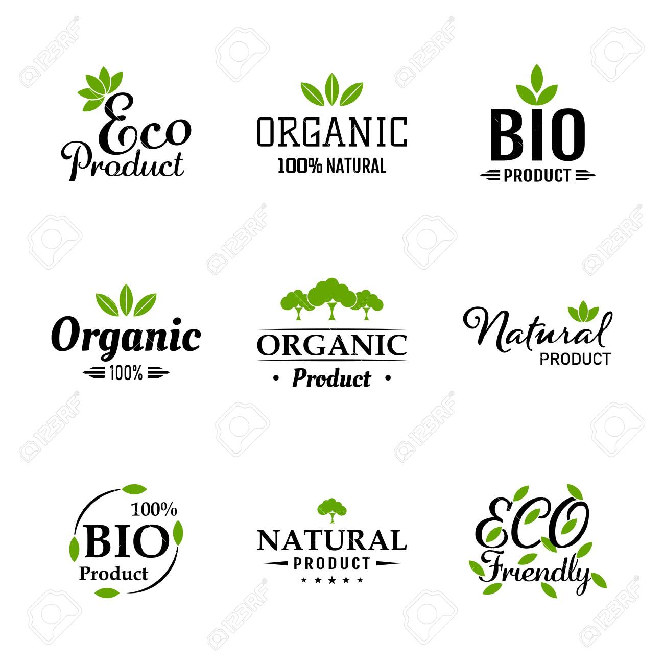 Natural ingredients eco green labels and stickers. Vector Illustration. Natural, Organic, Bio, Design Collection - A set green colored Designs on light background. - 149139410