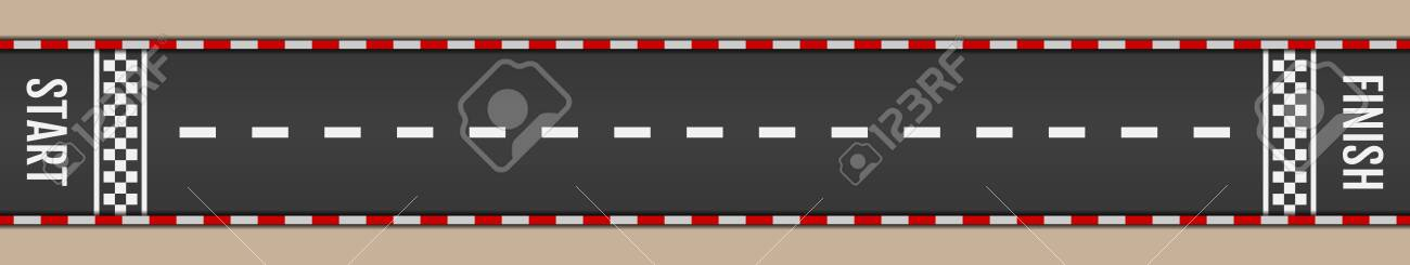 Asphalt for drive. Tarmac roadway with red grid texture border for sport competition. Automobile road for car - 150133600