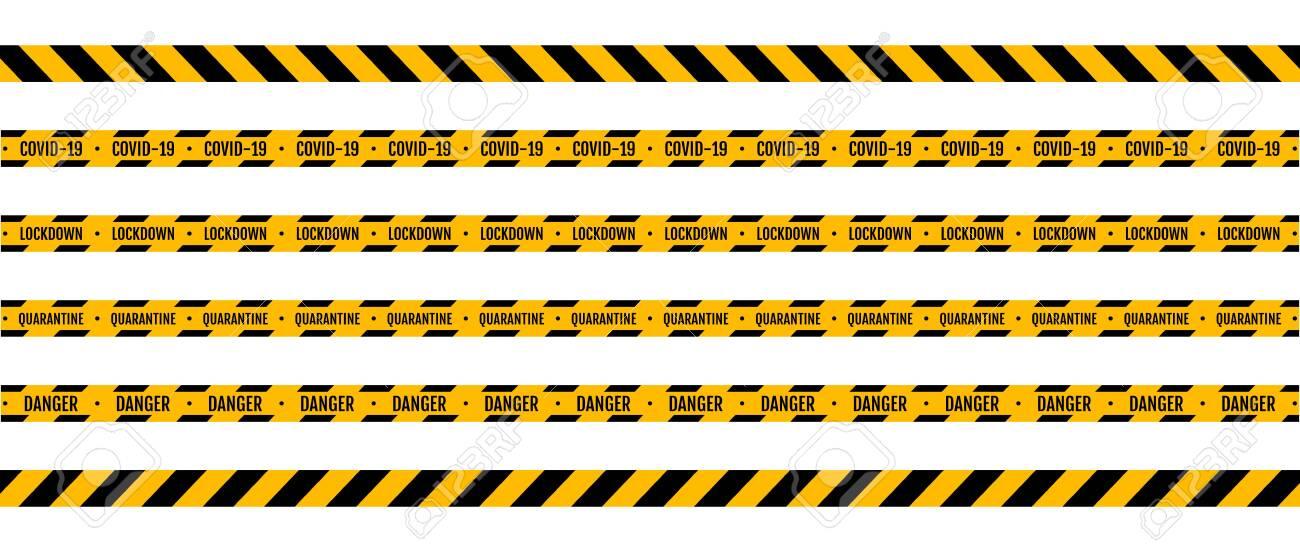 Warning coronavirus quarantine yellow and black stripes - 150452504