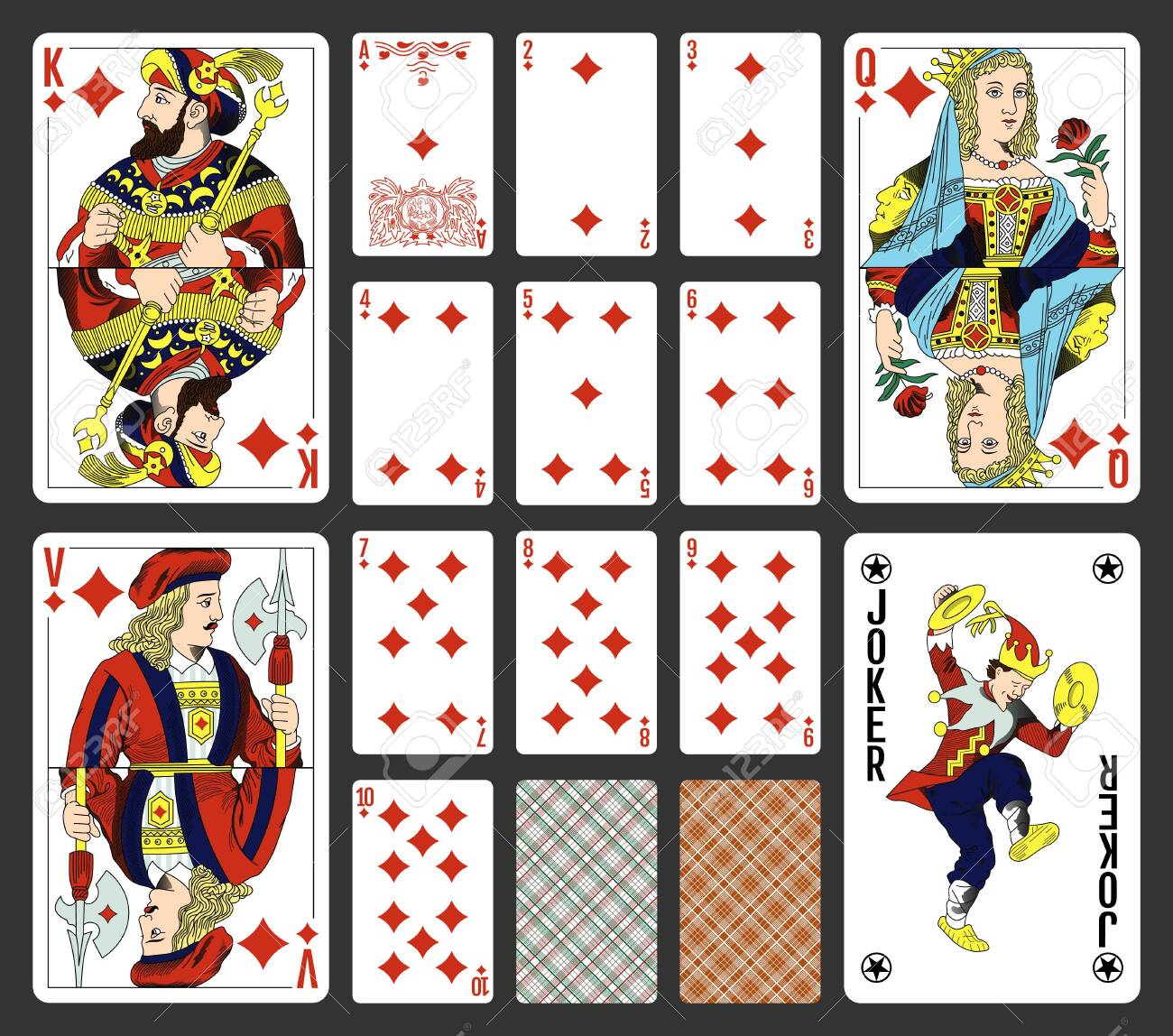 Diamonds suite design for a pack of traditional style playing cards - 151316568