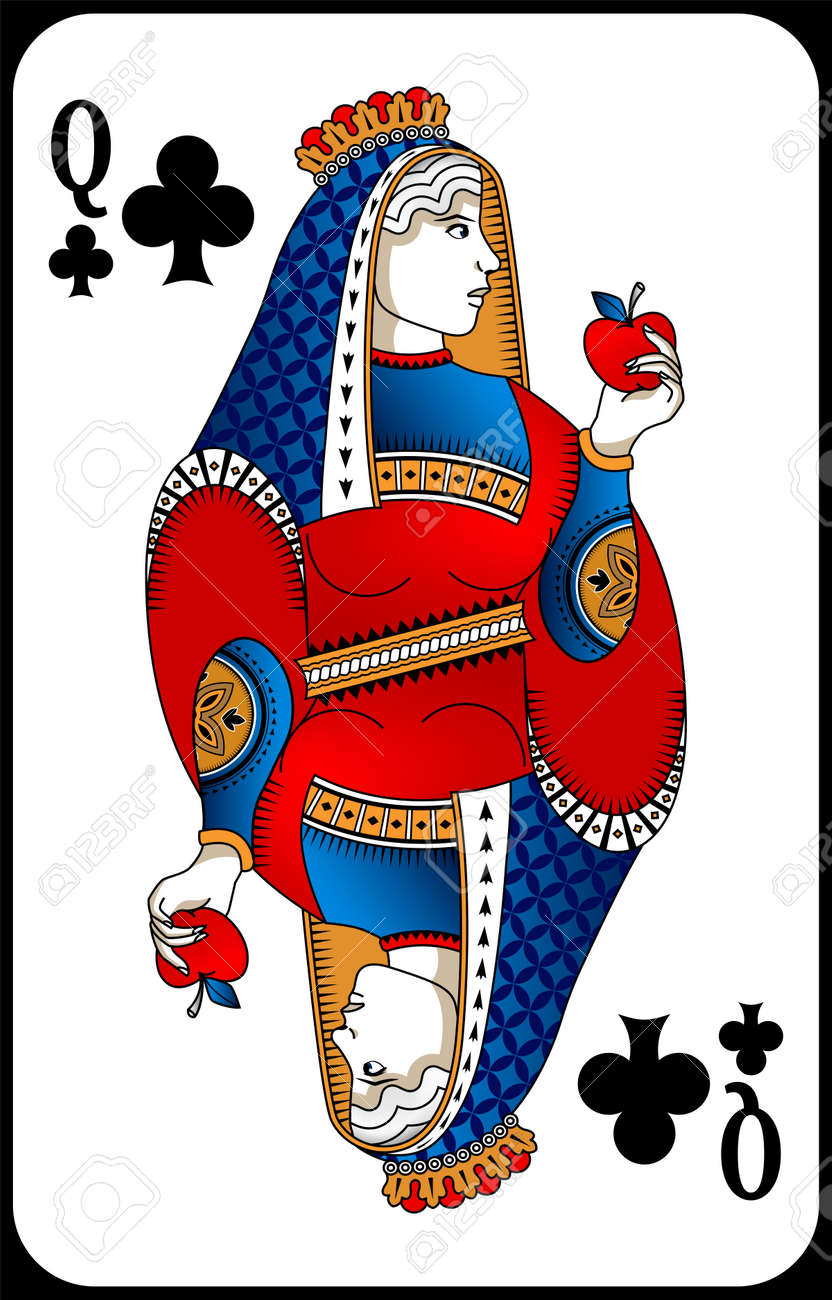 Poker playing card queen spades. New design of playing cards. - 162195426