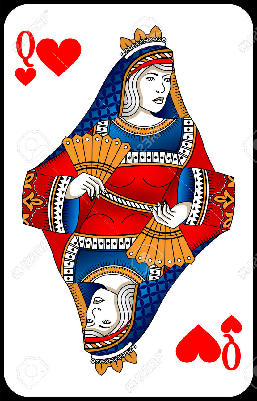 Poker playing card queen spades. New design of playing cards. - 162195428