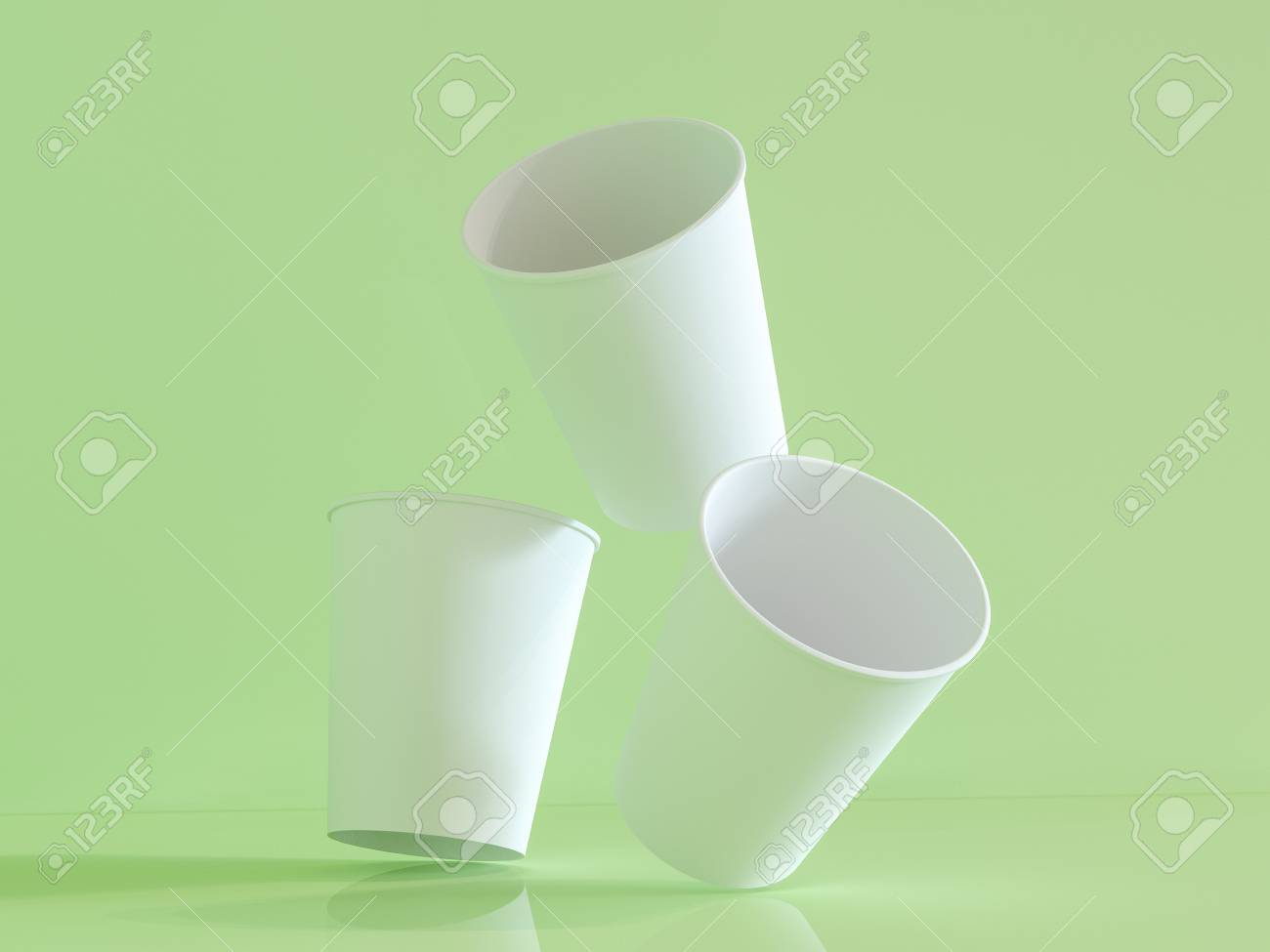 3d Model Of Paper Cups On The Plane Under Natural Light  Green