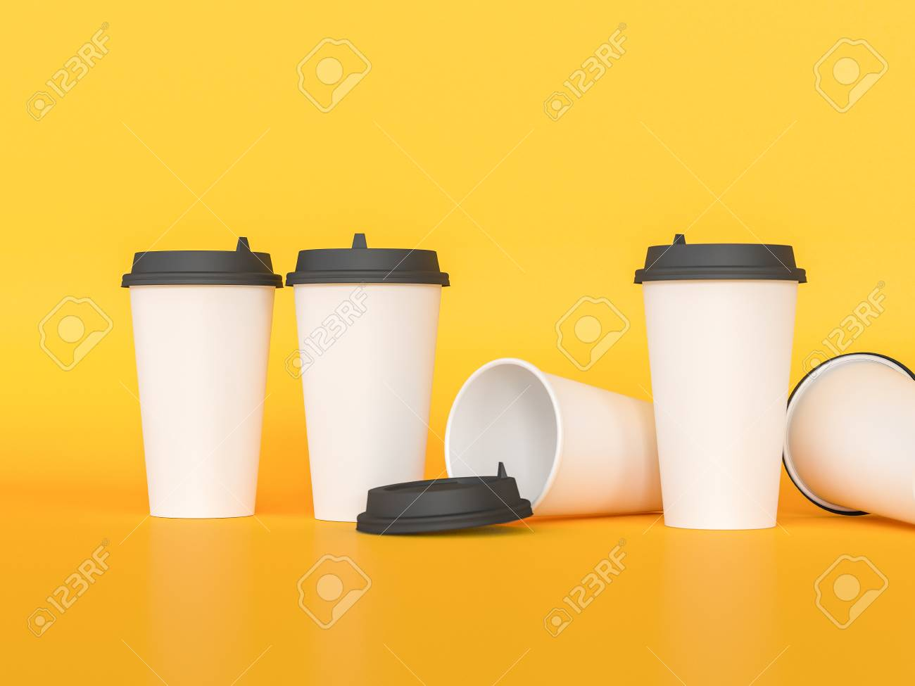 3d Model Of Paper Cups With A Lid Standing On A Plane Under Natural