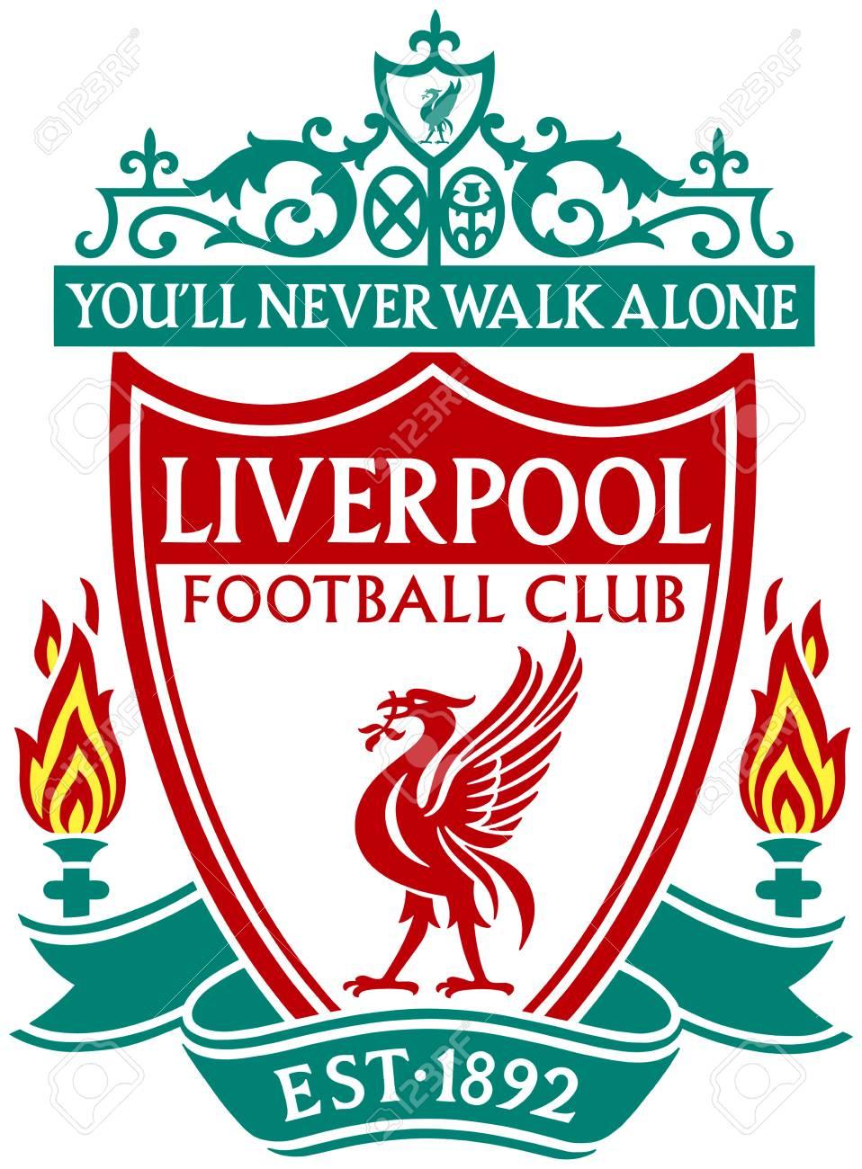 Logo Of English Football Team Fc Liverpool Great Britain Stock