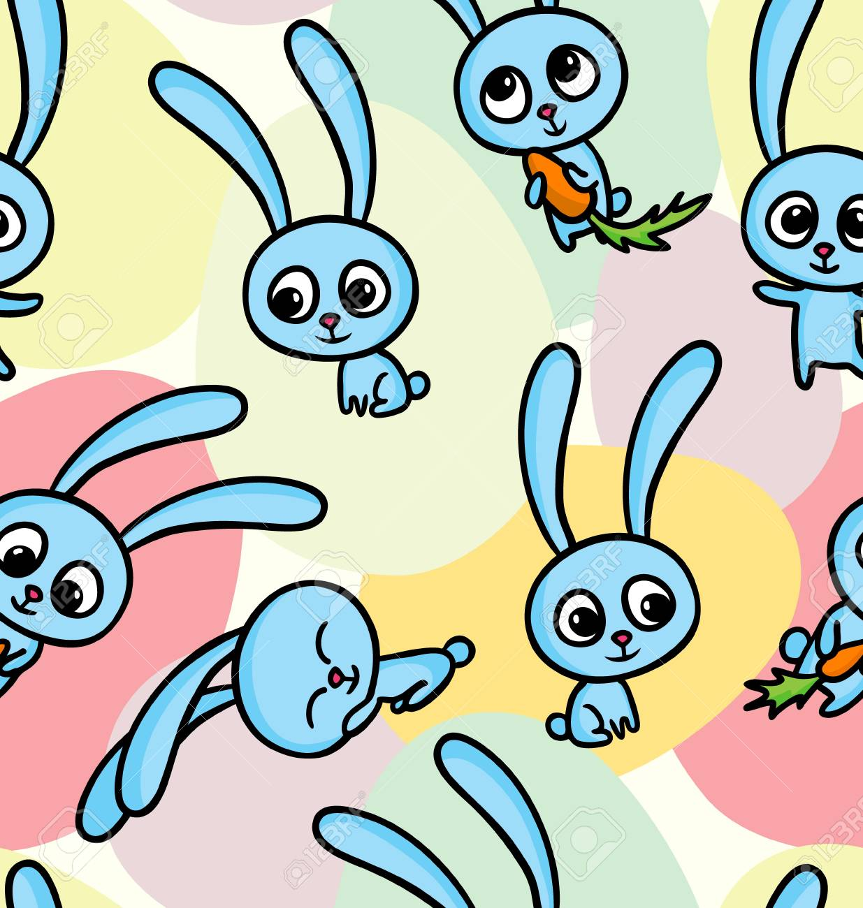 Vector illustration of happy easter bunnies on seamless pattern background Stock Vector - 18798433