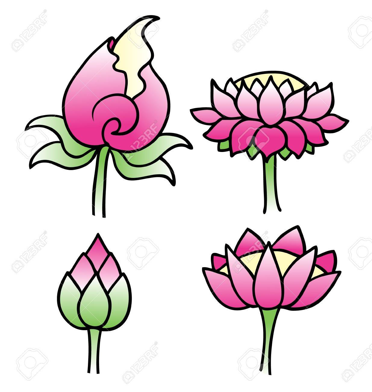 Set of simple lotus flowers in vector format royalty free cliparts set of simple lotus flowers in vector format stock vector 19548562 izmirmasajfo