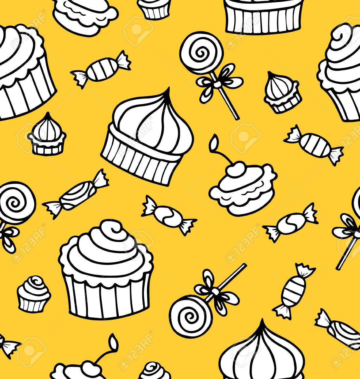 シームレスなベクトル パターンまたはテクスチャと一緒にスイーツを手の描かれたマフィンとロリポップ デスクトップの壁紙 装飾や料理ブログ サイトお菓子と背景 のイラスト素材 ベクタ Image