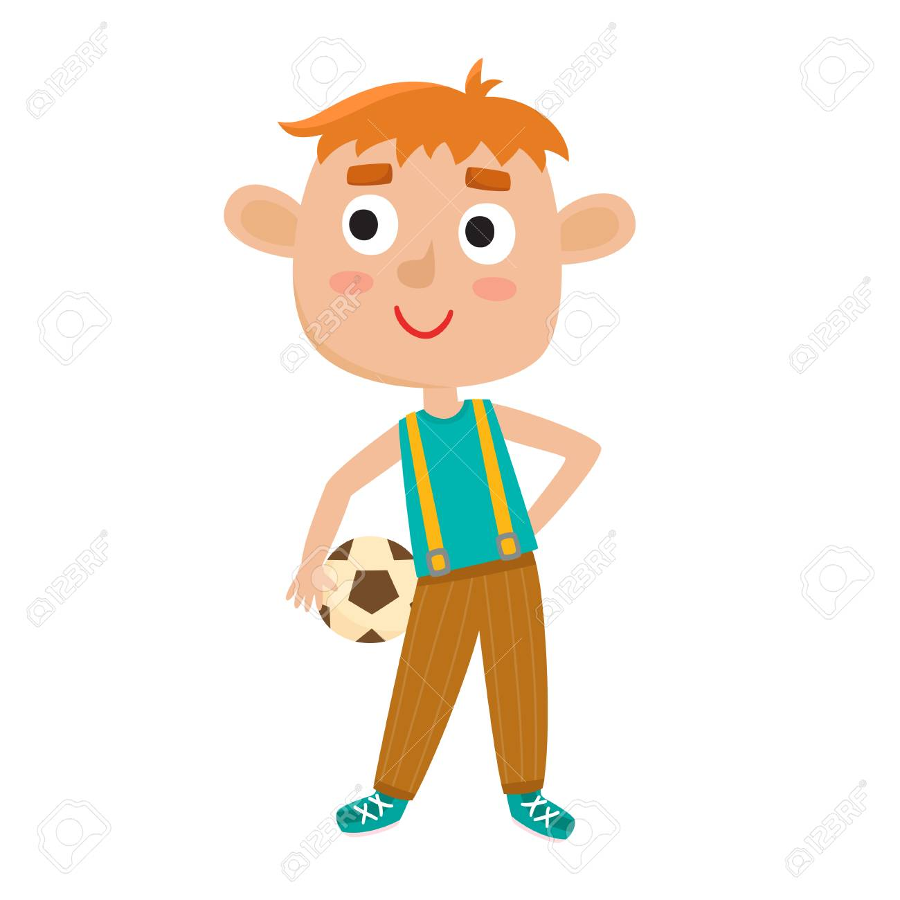 Ilustracion De Vector De Nino Jugando Futbol En Estilo De Dibujos