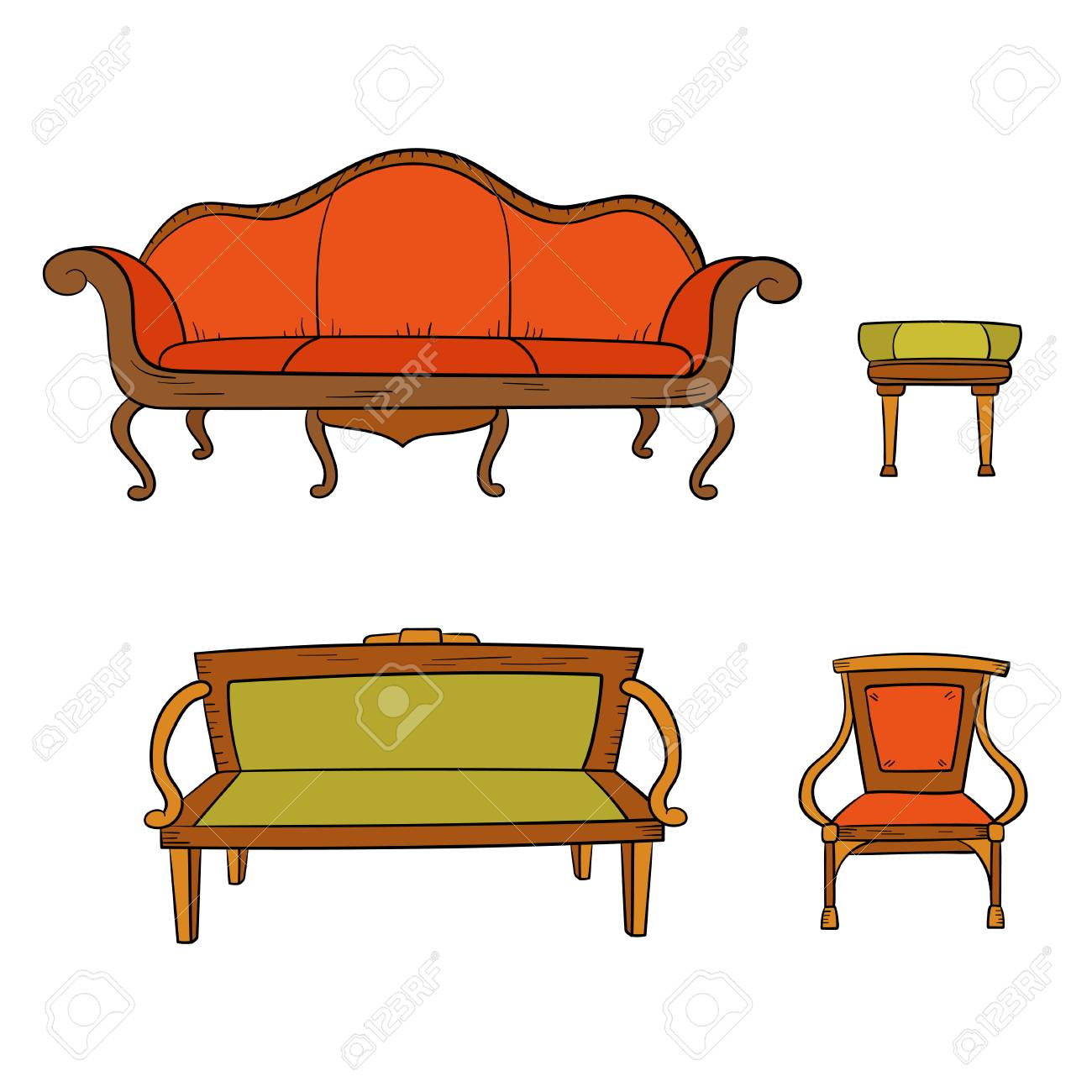Antique Furniture Set Chair Couch Sofa Chair Isolated On
