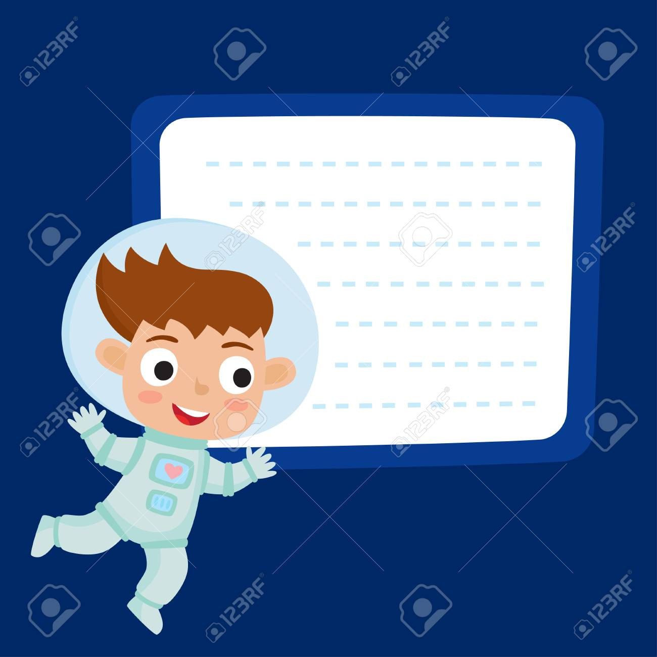 Cute little girl astronaut with a blank poster for your text
