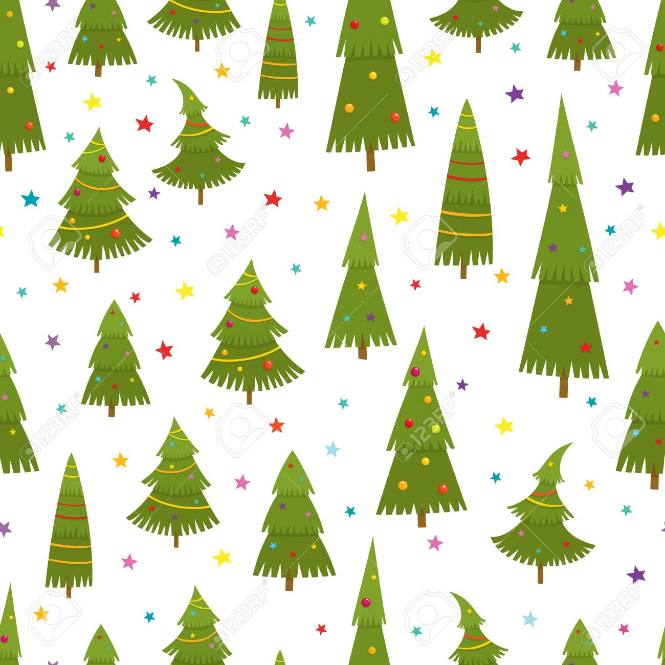 Seamless pattern with christmas tree in cartoon style, vector..