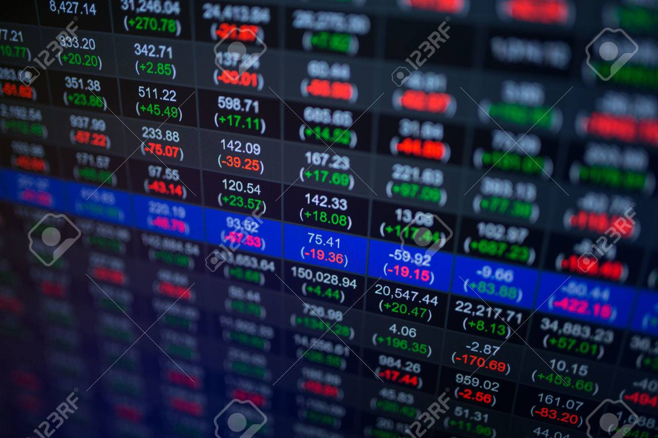 Stock market chart,Stock market data on LED display concept