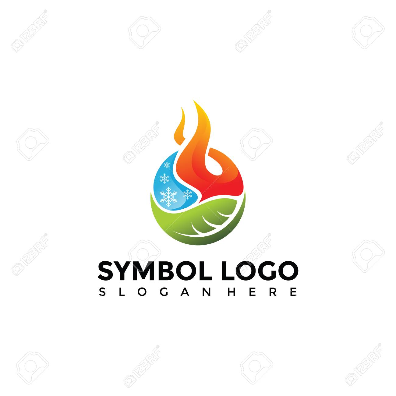 Element Symbol Of Fire, Water, Nature Logo Template. Vector ...