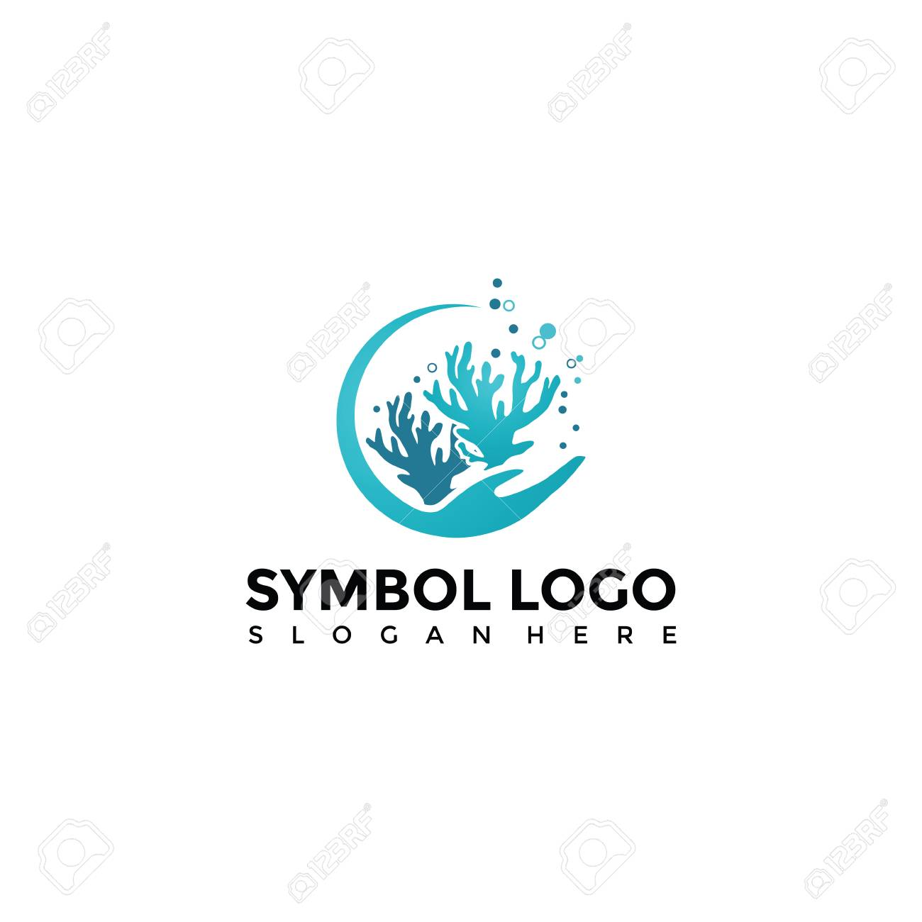 Sea And Coral Logo Template. Vector Illustrator Eps. 10 Royalty Free ...