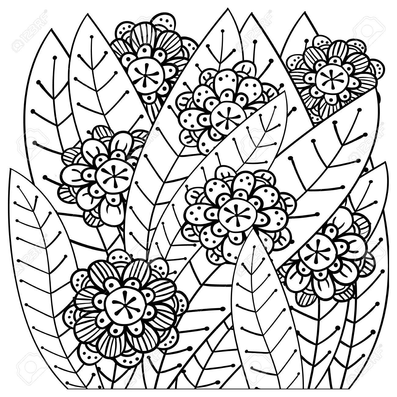 Whimsical Garden Adult Coloring Book Page. Soft Intricate Pattern ...