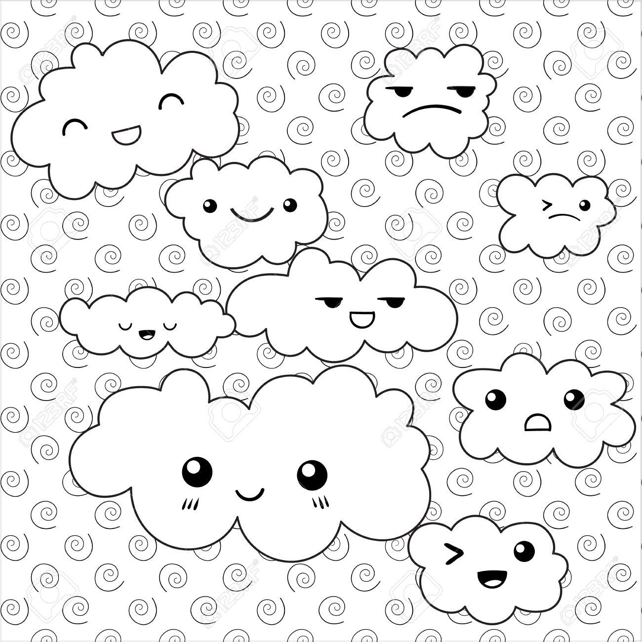 Página Del Libro Para Colorear Linda Nube Nubes Divertidas Emociones Ilustración Del Vector