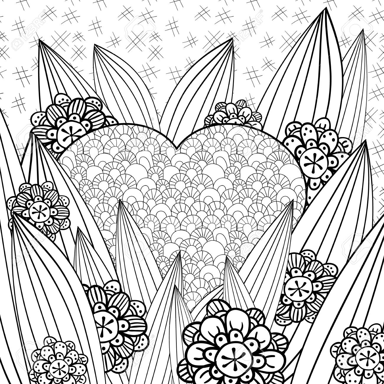 Whimsical Garden Adult Coloring Page Hand Drawn Vector Illustration