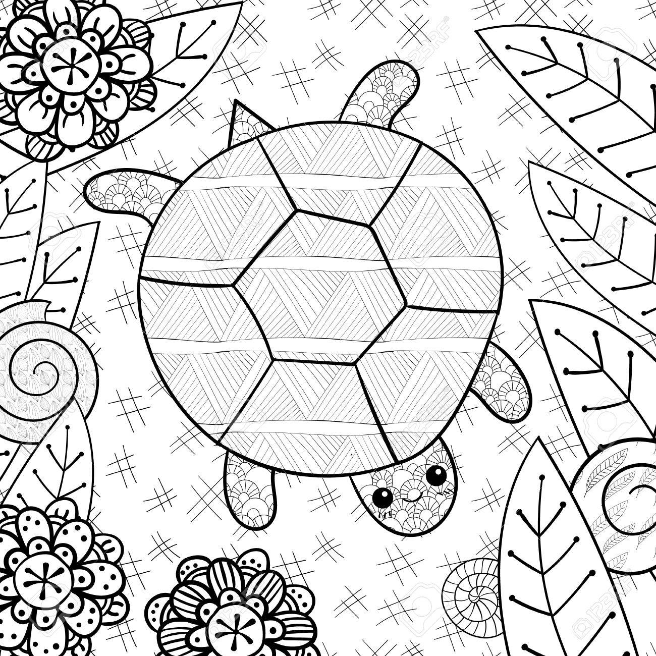 Cute Turtle Adult Coloring Book Page Happy Smiling In Garden Whimsical Line Art