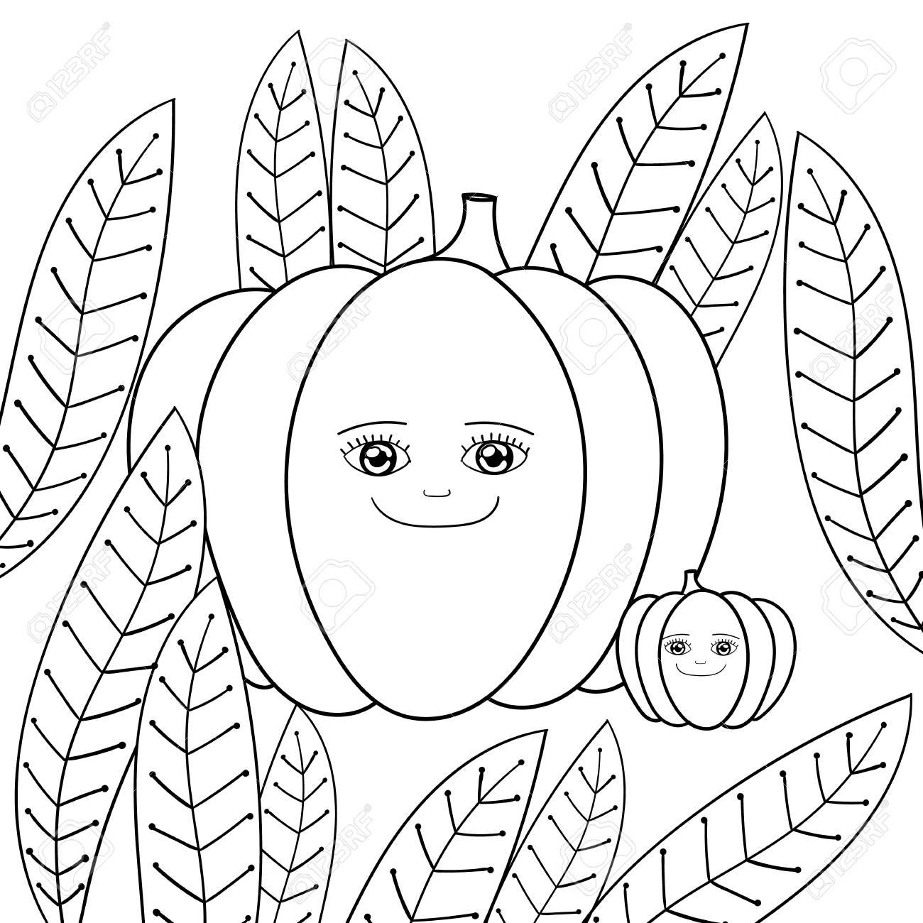 Cute Pumpkins Coloring Book Happy Mother Pumpkin And Baby Pumpkin - Cute-pumpkin-coloring-pages