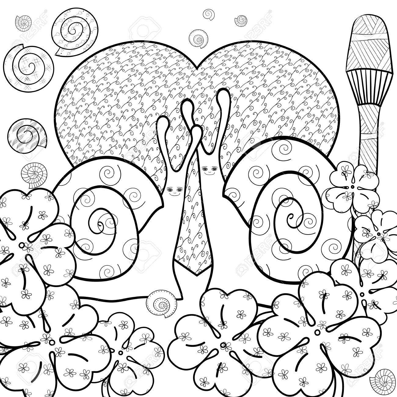 Whimsical designs coloring book - Cute Snail Adult Coloring Book Page Snails In Whimsical Garden Big Heart Love