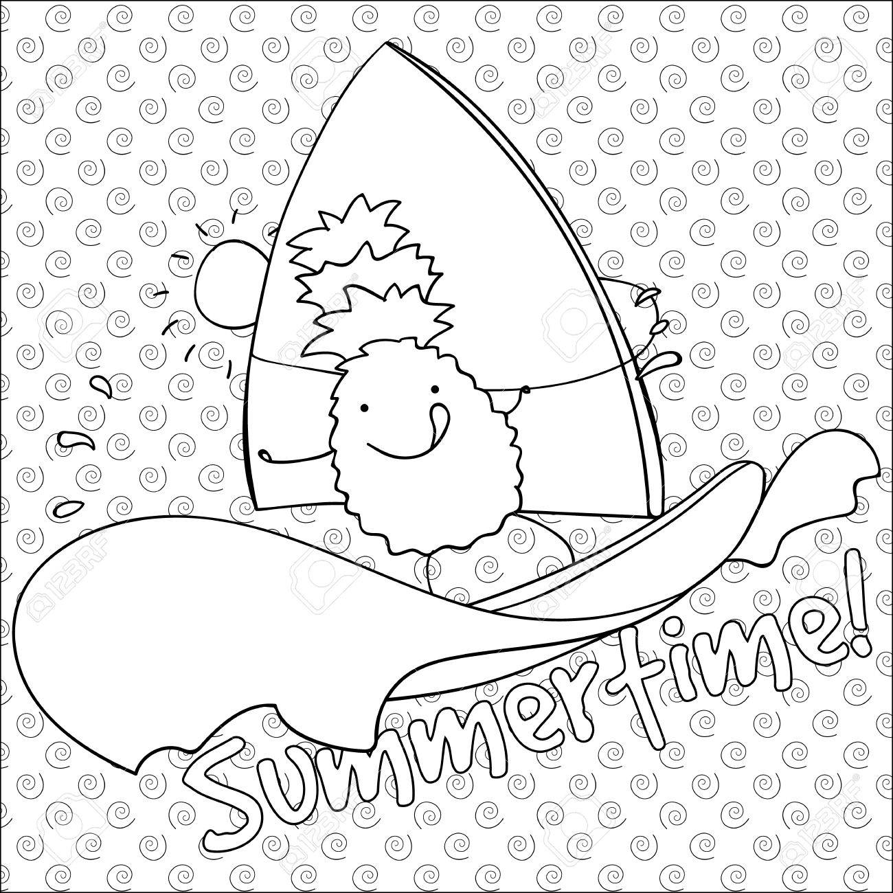 Cute Pineapple Windsurfing Summertime Coloring Book Page Vector Royalty Free Cliparts Vectors And Stock Illustration Image 57361786