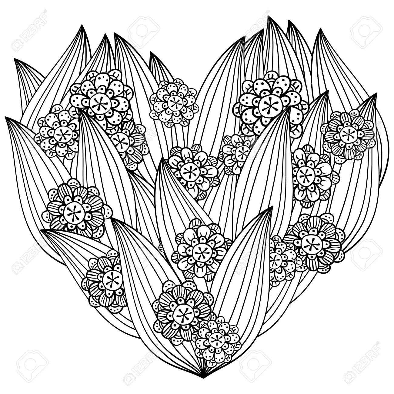 Heart Adult Coloring Book Page. Whimsical Line Art. Zentangle ...