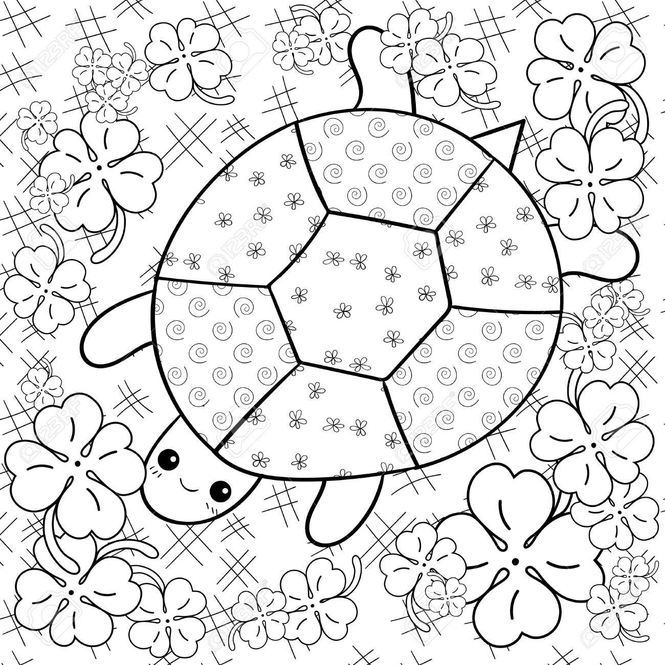 Turtle Heaven Adult Coloring Book Page. Happy Turtle In Clover ...