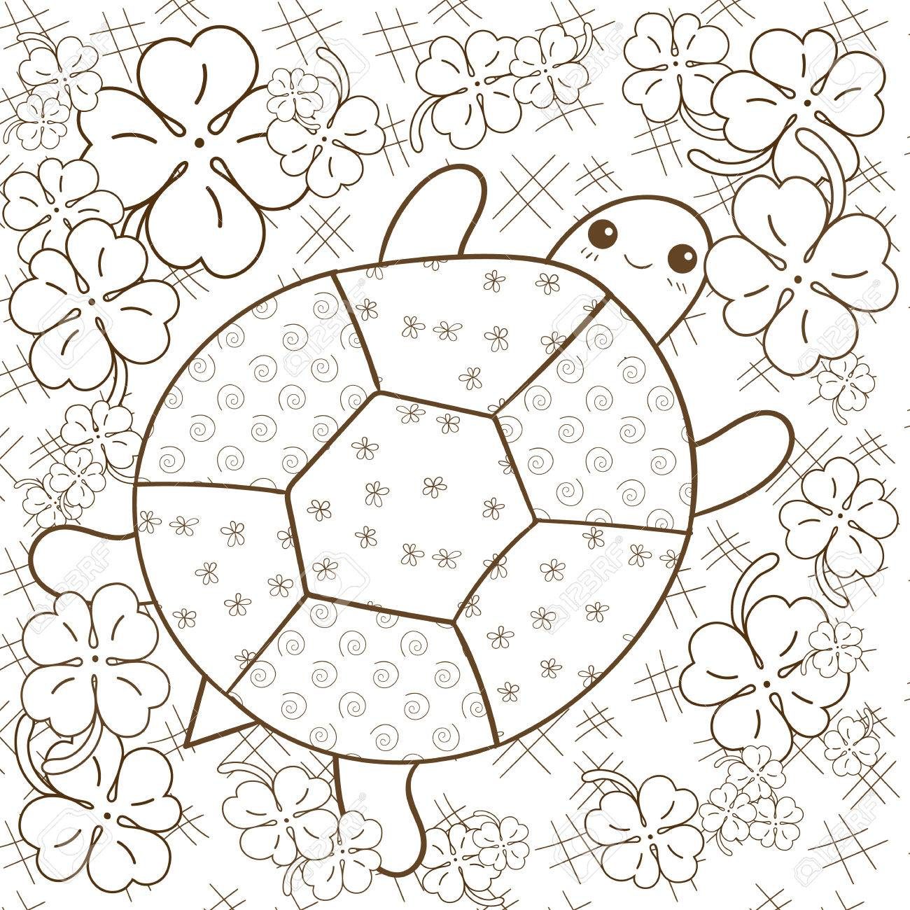 Whimsical designs coloring book - Turtle Heaven Adult Coloring Book Page Cute Turtle In Clover Garden Whimsical Line Art
