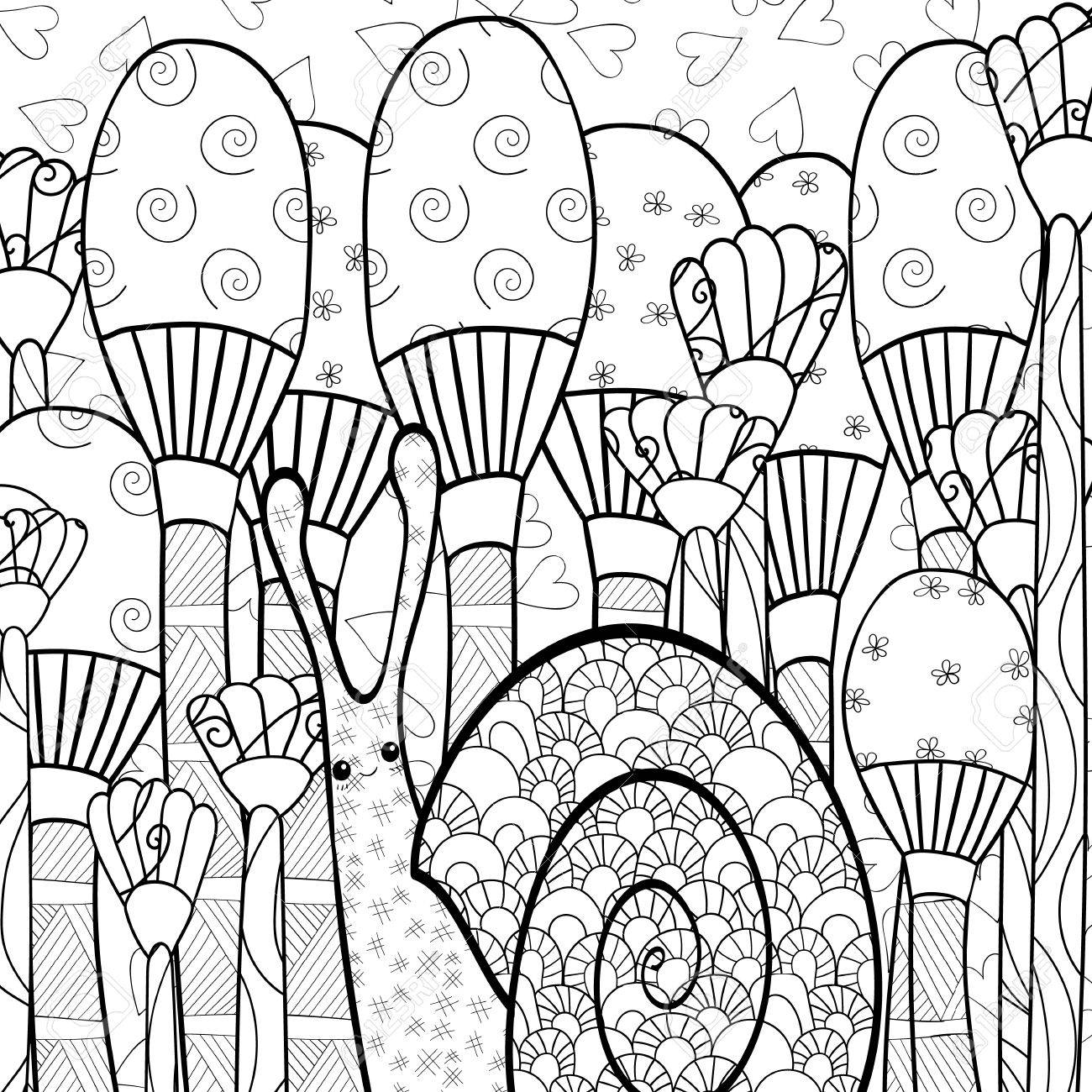 Cute Snail Adult Coloring Book Page In Whimsical Garden Line Art Illustration