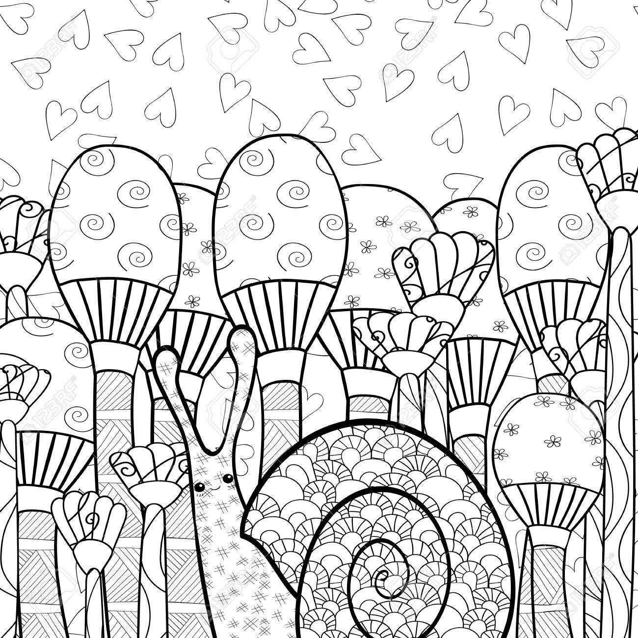 Whimsical designs coloring book - Cute Snail In Whimsical Mushroom Forest Adult Coloring Book Page Line Art Vector Illustration