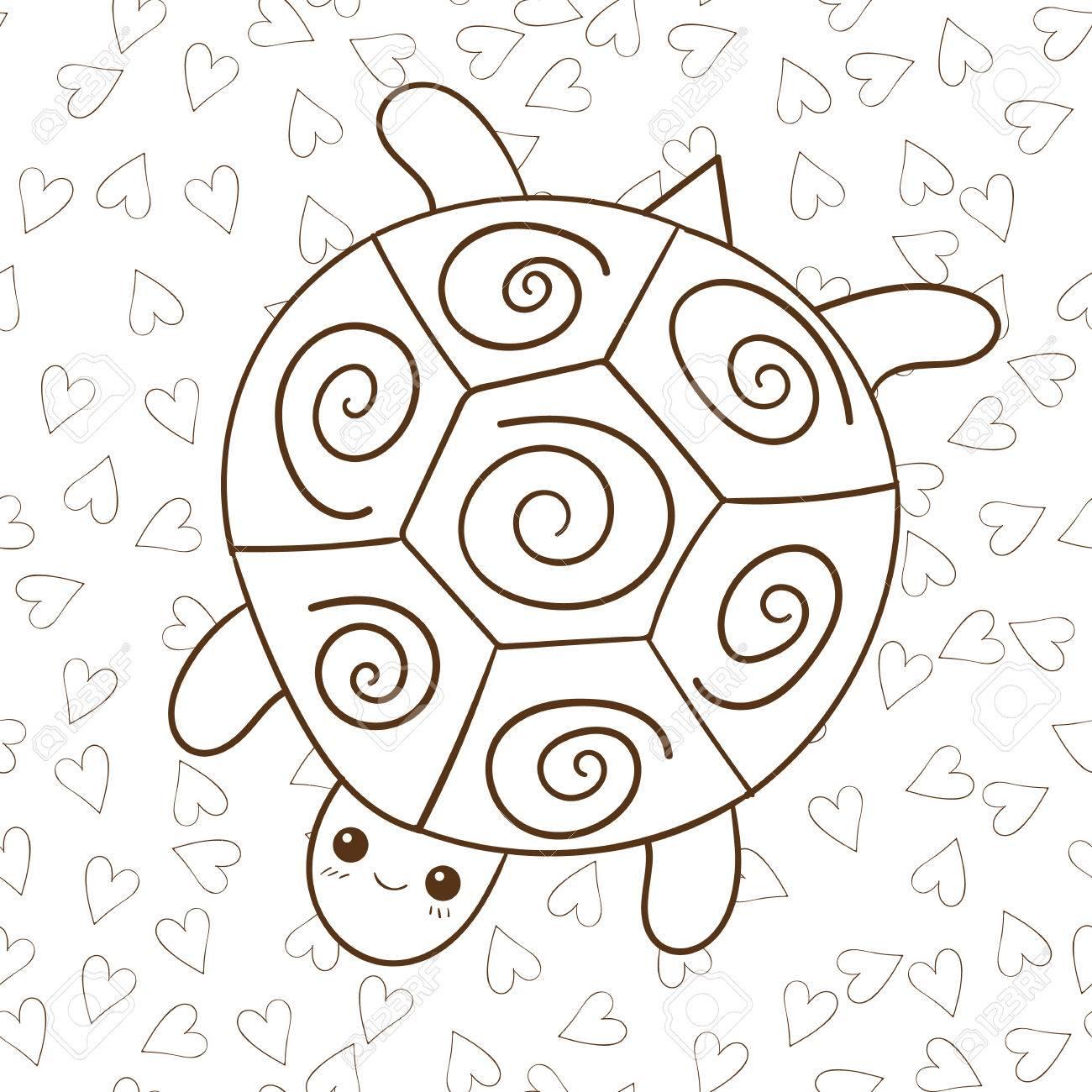 Malbuch Niedlichen Schildkröte Mit Herz Auf Hintergrund. Brown ...