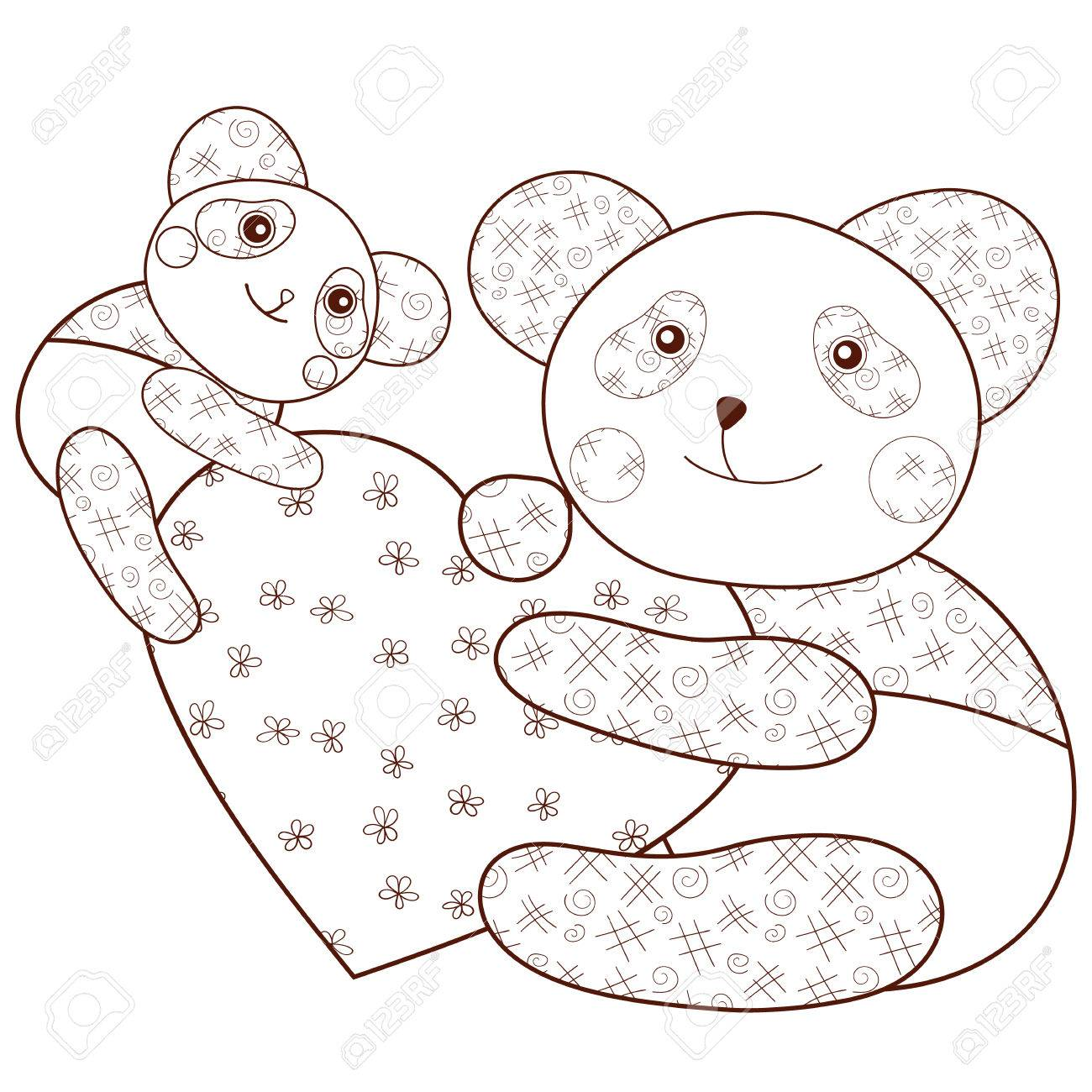 Kid Coloring Book Page Cute Panda With Heart And Baby Panda