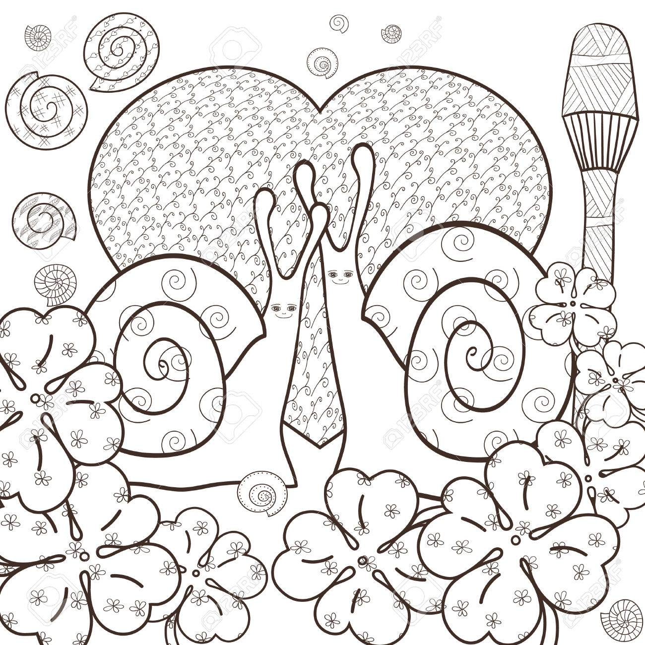 Whimsical designs coloring book - Cute Snail Adult Coloring Book Page Snails In Whimsical Forest With Big Heart And Magic
