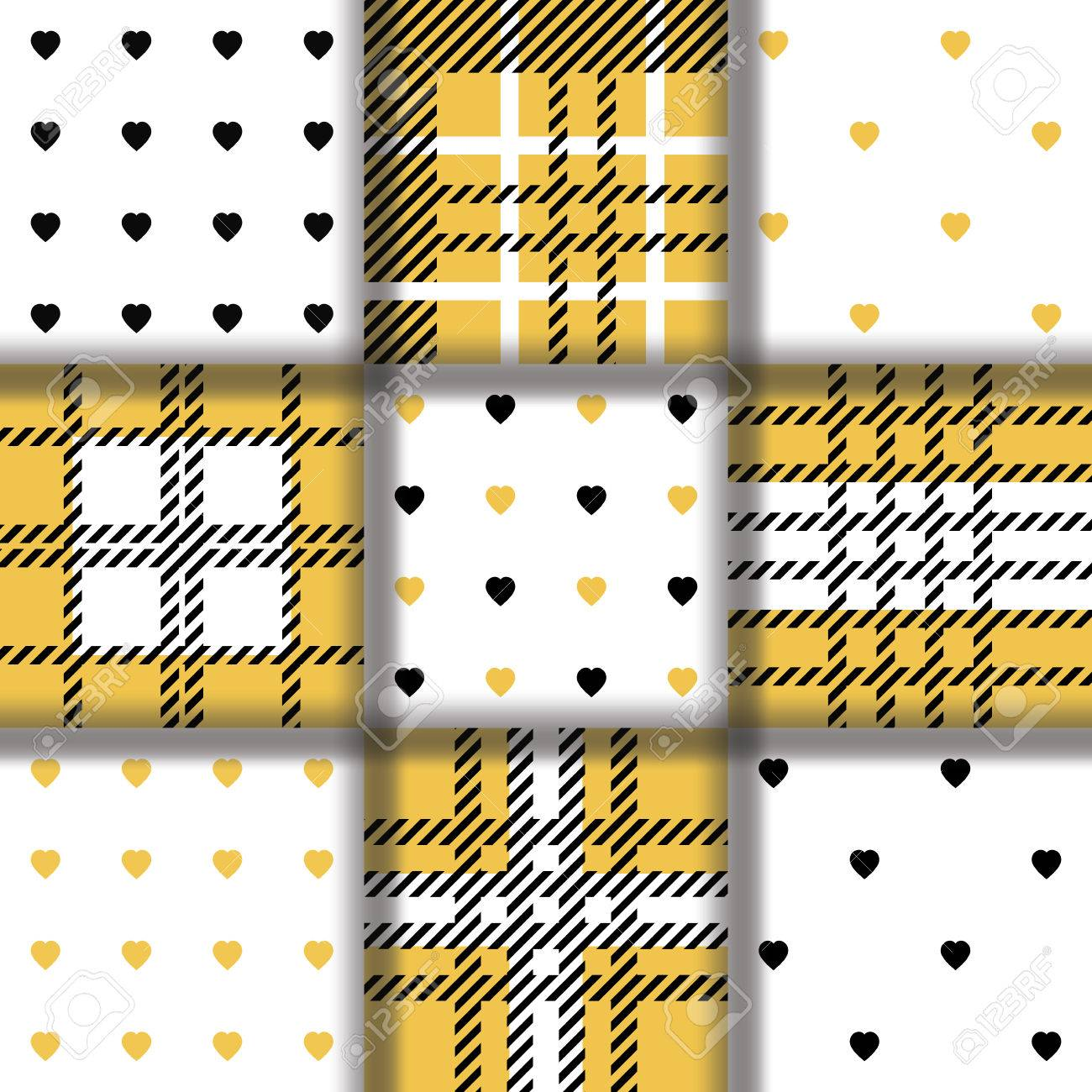 48de75726 Conjunto del modelo inconsútil de la tela cruzada de tartán a cuadros y el  patrón con el corazón negro de oro. Repitió la textura de la tela ...