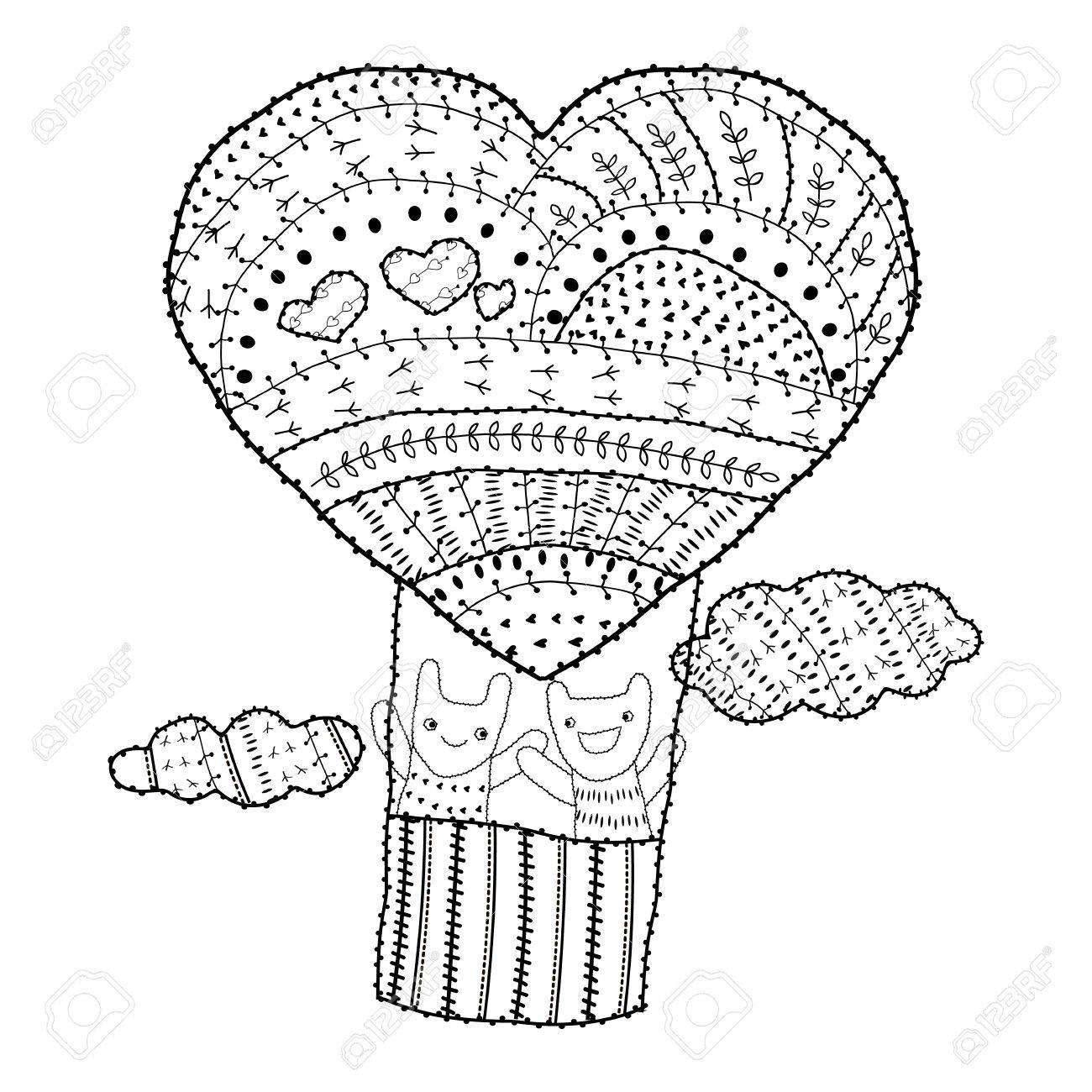 Coloriage Ballon En Coeur.Adulte Coloriage En Forme De Coeur Ballon A Air Chaud Deux Amis