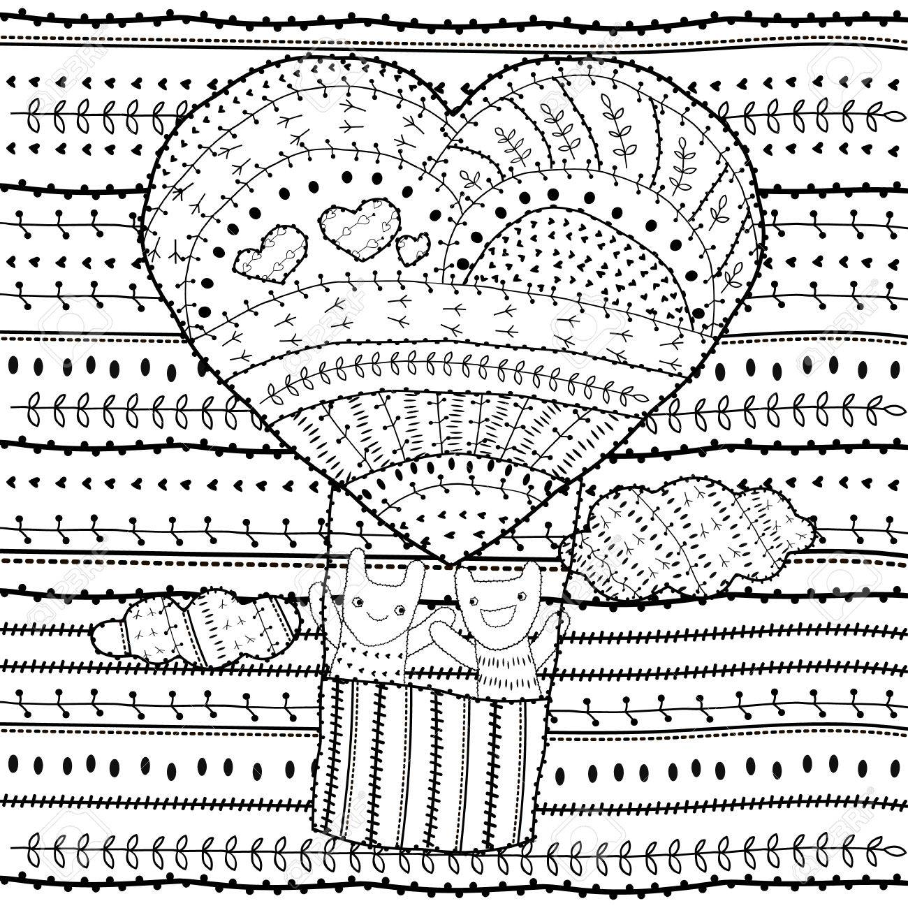 coloring page heart shaped air balloon two friends