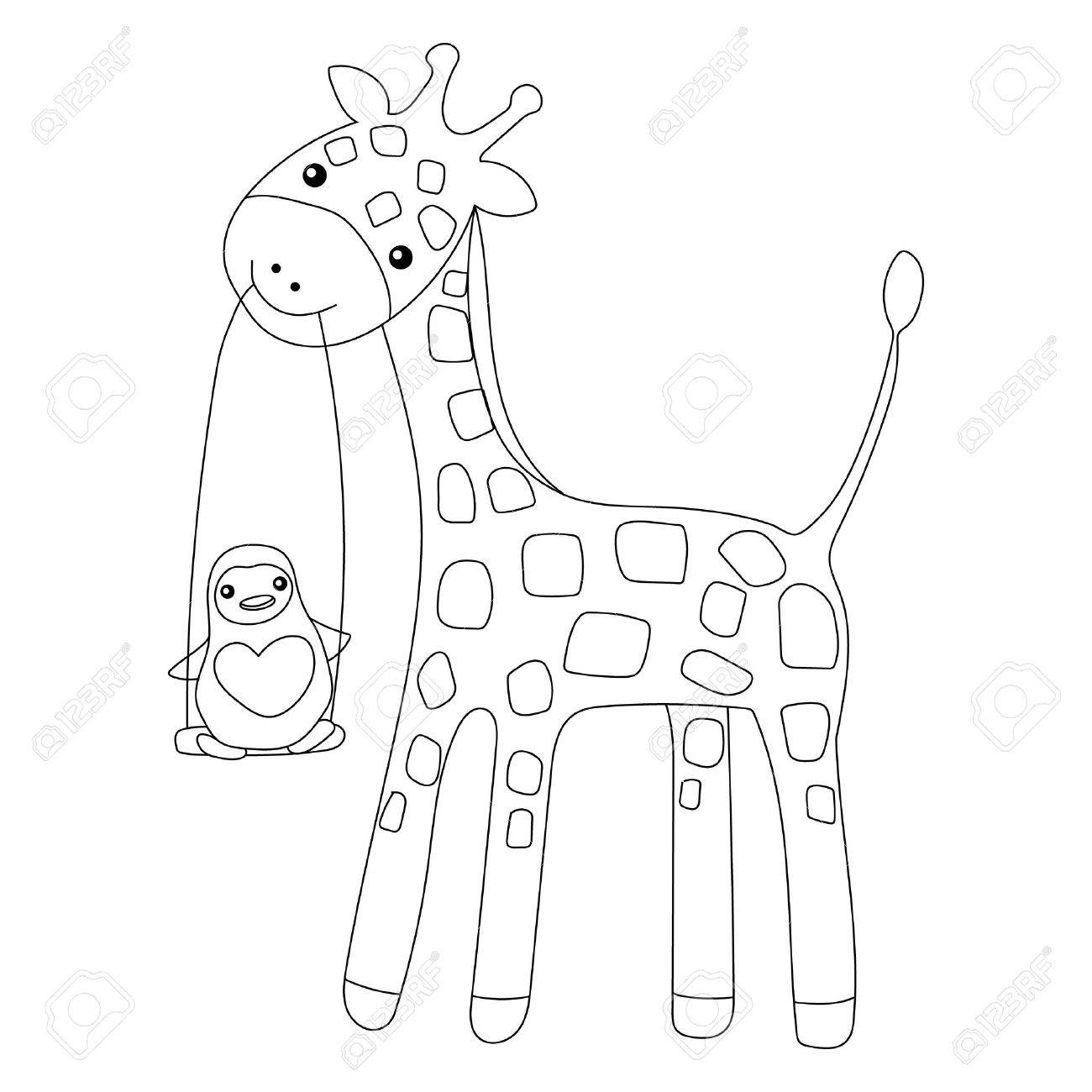 Coloring page little cute giraffe and his friend penguin isolated