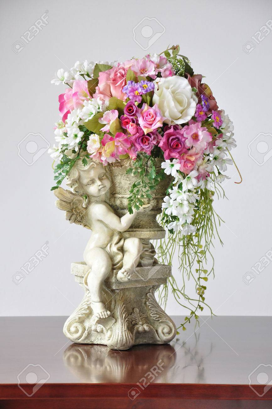Stock Photo - Vases artificial flowers Lovely Angel Cupid Flower Vase Ornament & Vases Artificial Flowers Lovely Angel Cupid Flower Vase Ornament ...