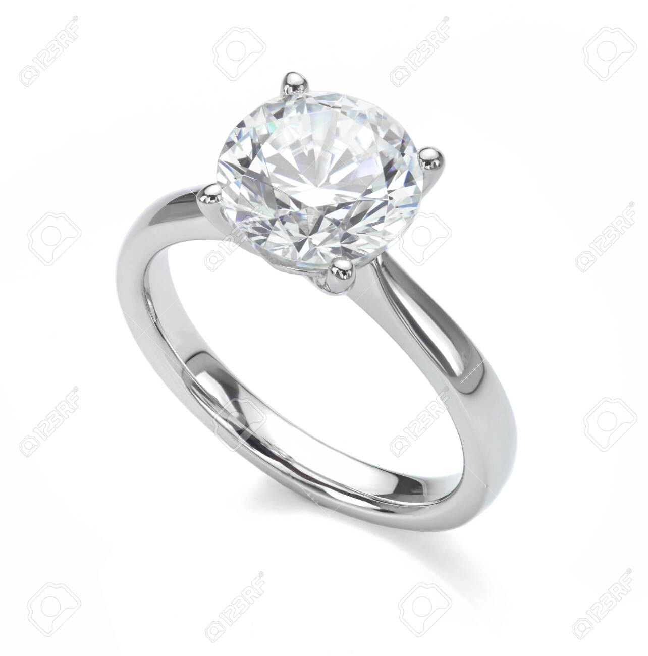 Diamond Ring Isolated on White Engagement Solitaire Style Ring - 142738103
