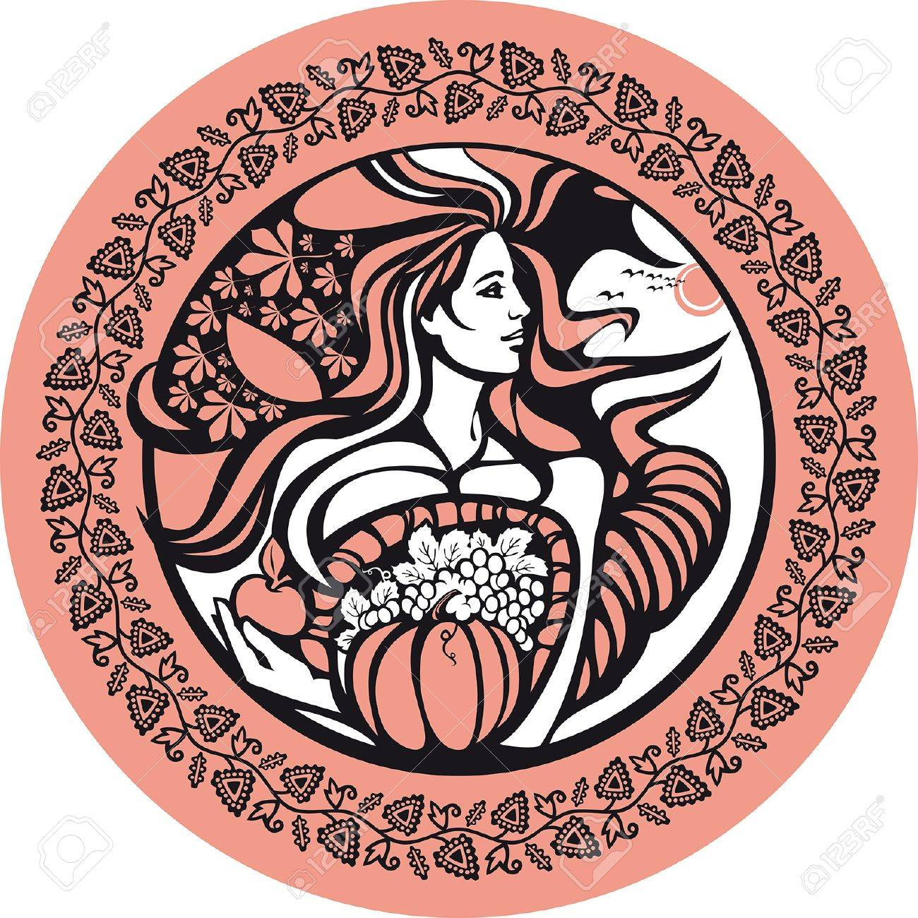 October. There is a woman who holds a cornucopia. She symbolizes an autumn and fertility of soil. Stock Vector - 12156999