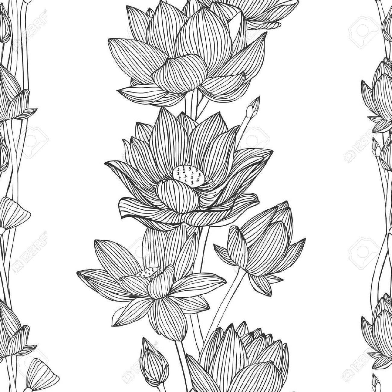 Rayas Verticales Florales. Lineal Sin Patrón - Flor De Loto ...