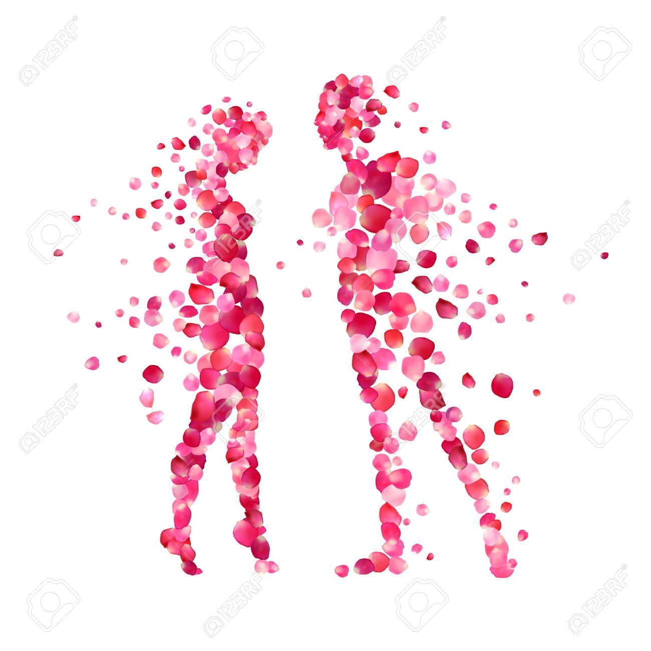 バラの花びらの愛情のあるカップルのシルエット。バレンタインの